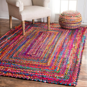 nuLOOM Handmade Casual Cotton Braided Area Rugs, 0.6m x 0.9m, Multicolor