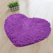 Hughapy Super Soft Lovely Heart Love Shaped area rug,Anti-skid Chenille Door Mat christmas carpet for Home Bedroom 50cm60cm with 10 colours,Purple