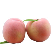 Artificial Juicy Peaches Simulation Fake Fruits Peaches with Leaf Photo Props Home Decoration X 5Pcs