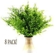 Artificial Shrubs (8-Pack); Faux Plastic Leafy Green Imitation Boxwood Plants for Decorating Indoor & Outdoor