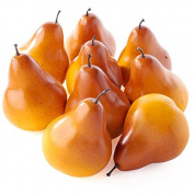 Factory Direct Craft Package of 9 Golden Orange Artificial Pears for Harvest and Home Decor