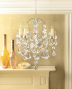 Chandelier Candle Holders, Ivory White Hanging Candle Chandelier Holder - Iron