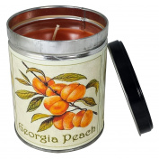 Peach Scented Candle in 380ml Tin with a Georgia Peach Label By Our Own Candle Company