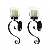 Adeco HD0039 Decorative Iron Vertical Candle Tea Light Pillar Holder Wall Sconce, Antique Vintage Style, Classy Home Decor Accents, Set of Two black