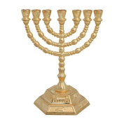 13cm Small 7 Branch Hexagonal Base 12 Tribes of Israel Menorah by Bethlehem Gifts TM