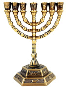 Antique Brass Temple MENORAH 7 Branch Candle Holder 12 Tribes of Israel Hexagonal Base Holy Land Gift 13cm Height