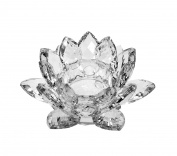Amlong Crystal Clear Crystal Lotus Tealight Candle Holder 11cm in Gift Box