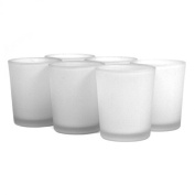 Koyal Wholesale Frosted White Glass Candle Holder, Pack of 12
