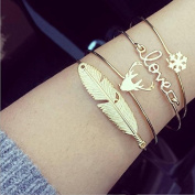Yesido. Cute Simple Leaf Antlers Deer Head LOVE Snowflake Bangle Set Christmas Gift