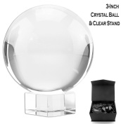 3-Inch Crystal Ball & Clear Stand, Optical Glass 80mm Sphere
