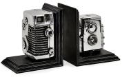 #1 Expedition Vintage Camera Bookends, Black/silver