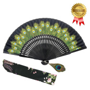 Hand Held Folding Fan for Women - OMyTea Peacock Chinese Japanese Oriental Asian Style - for Wedding, Dancing, Church, Party, Gifts