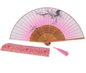Amajiji Beautiful Fashion Women Hand Held Silk Folding Fan with Bamboo Frame,100% Handmade Oriental Chinese / Japanese Vintage Retro Style LXH (20cm)