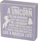 Advice from a Unicorn - Primitives by Kathy 15cm x 15cm Purple Wooden Box Sign