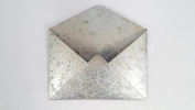 Galvanised Metal Wall Mounted Hanging Envelope Decor- Rustic Vintage Style Decorative Organiser Holder | Distressed Antique Silver Tin Colour | Unique Retro Pocket Mail Holder For Your Home Or Office