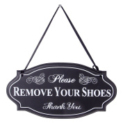 NIKKY HOME Please Remove Your Shoes Thank You Wooden Wall Decorative Sign 11.75 x 0.9cm x 16cm Black