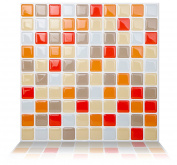 Tic Tac Tiles Peel and Stick Wall Tile in Mosaic Vanillaorange