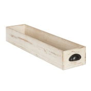 Kate and Laurel - Woodmont Distressed Wood Trough Tray, Antique White