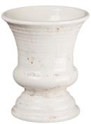 Sullivans Distressed White Ceramic Urn, 13cm x 15cm