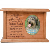 Cremation Urns for Pets SMALL Memorial Keepsake box for Dogs and Cats, personalised Urn for pet ashes THE MEMORY of you my faithful friend I will carry... SMALL portion of ashes holds 2x3 phot