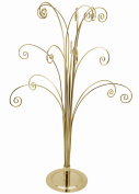 Creative Hobbies 50cm Tall Ornament Display Tree, Bright Brass Plated, Holds 15 Ornaments
