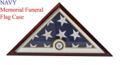 DisplayGifts United States Navy Flag Display Case Box for FOLDED 1.5mX2.9m Burial/Funeral Flag, FC69-MAH .