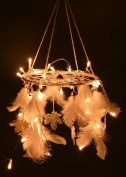 Rooh Dream Catcher ~ White Light ~ Handmade Hangings for Positivity (Use as Home Decor Asscent, Wall hangings, Garden, Outdoor, Bedroom, Christmas, Thanks Giving, Valentines)