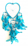 OMA Dream Catcher - Hand Made TURQUOISE BLUE Feather Dream Catcher Heart Shaped With Crystal Beads - 18cm Diameter & 60cm Long - OMA FEDERAL (TM) BRAND