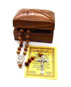 Holy Land Bethlehem Olive Wood Rosary Beads with Holy Water From the Jordan River and Jerusalem Cross Wooden Hand Carved Jewellery Box