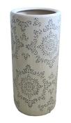 Ceramic Umbrella Stand, 20cm x 20cm x 46cm , White/Grey