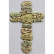 Names of Jesus Christ Pebble 25cm Resin Decorative Hanging Wall Cross