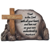 Decorative Holy Cross Desktop Plaque Figurine for Religious and Christian Rustic Decor As Spiritual Decorations with Faith in God Bible Verse As Inspirational Easter or Christmas Gifts