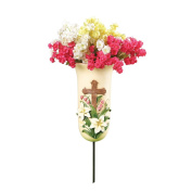 Lilies and Cross Outdoor Memorial Grave Vase Decoration