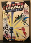 Silver Buffalo DC Comics The Justice League of America #12 Wood Wall Art 48cm x 33cm Vintage