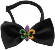 Mirage Pet Products 47-33 BK Mardi Gras Fleur de Lis Chipper Black Bow Tie, Small