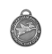 Luxepets Pet Collar Charm, Guardian Angel Dog, Antique Silver