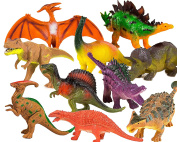 """Toysery Realistic Looking Dinosaurs Toys Set for kids - Plastic Assorted Dinosaur Toys Figures - Pack of 10pcs, 13cm """""""