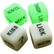 Geek-House Set of 4 Luminous White Creative Fun Dice For Bachelor Party Adult Toy Spicy Dice
