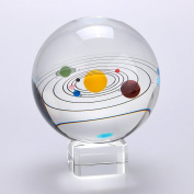 Sumnacon Clear Crystal Ball Sphere 80mm / 3 inch , Solar System Crystal Ball With Crystal Stand, Planet Balls for Astronomer Decoration, Lover of Space, Kids and Student, No Pluto