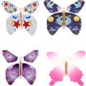 Magic Flying Butterfly Flies From Cards Letters Books Gifts and Flowers Surprise 4 Pcs Set