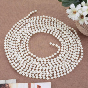 Demiawaking 5m White String Beads Pearl Chain Plastic Garland Wedding Beads Christmas Tree Beads for Crafts Table Decoration Jewellery Making