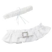 Ivy Lane Design Glamour Bridal Garter Set, White