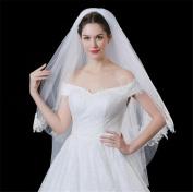 HAPPYMOOD Bridal Veil Double Layers 80-100cm Wedding Veil Short Lace Soft Touch Party Wedding Accessary