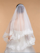 HAPPYMOOD Wedding Veil 2 Tiers Lace Applique Edge Elbow Length Bridal Wedding Veil Bridal Decorated with Lace Crystal