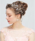 HAPPYMOOD Hair Vine Wedding Headpiece with Beads Handmade Simple Attractive Hair Accessories for Bride and Bridesmaids