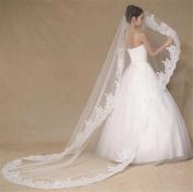 HAPPYMOOD Wedding Veil Pure Hand Made Lace Flower White or Ivory Elegant Beautiful Wedding Bridal Veil Satin Edge Prom Bride