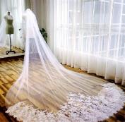 HAPPYMOOD Wedding Veil 3M White Ivory Lace Edge Cathedral Length Wedding Bridal Veil Women Bridal Wedding Accessary