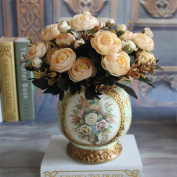 Tangbasi 1 Bouquet Faux Silk Cloth Tea Roses Artificial Flowers for Home Wedding Decoration