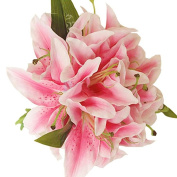 Tangbasi Artificial Lily Bridal Bouquet Artificial Flowers for Home Wedding Decorations