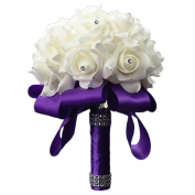 Tangbasi Bridal Bouquet Artificial Bouquet Holder with Stem for Wedding Decorations
